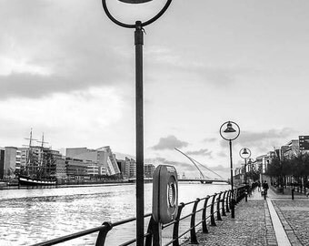 Dublin City Cityscape - Ireland Photography. Liffey River and Bird on a Lamp -  AllyEphotography