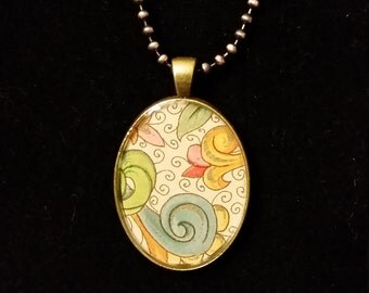Abstract Flower Chiyogami Pendant