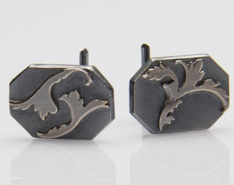 Oxidized Sterling Silver Filigree Cufflinks