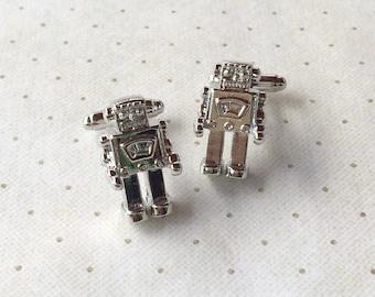 Robot Cufflinks Cuff Links in Silver