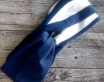 Turban two colors - Navy and white