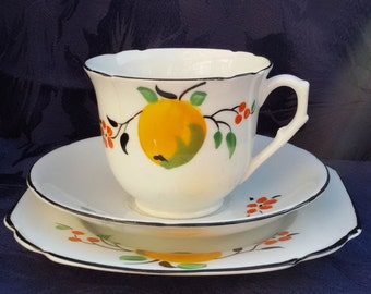 Melba Bone China Art Deco Tea cup, Saucer and Plate Trio (pattern 3590)