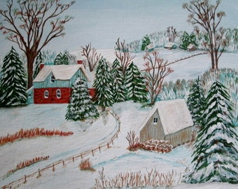 Winter Landscape Painting, original fine art acrylic realism woodland home decor cottage chic rustic country western farm nature