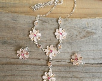 Jewelry Set Pink flower necklace and earrings set pink and silver tone necklace and earring set lariat necklace BB40
