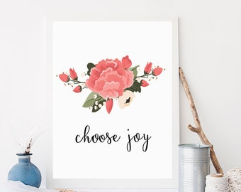 Choose Joy Floral Typography Floral Print Floral Wall Art Black and White Wall Art Prink Wall Art Home Decor Office Decor