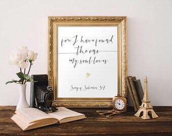 Wedding Bible Verse Wall Art Print Scripture Print Christian Wall Art Wedding Decor Song of Solomon Printable Apartment Decor Anniversary