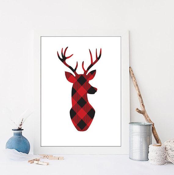 plaid deer printable deer plaid deer print