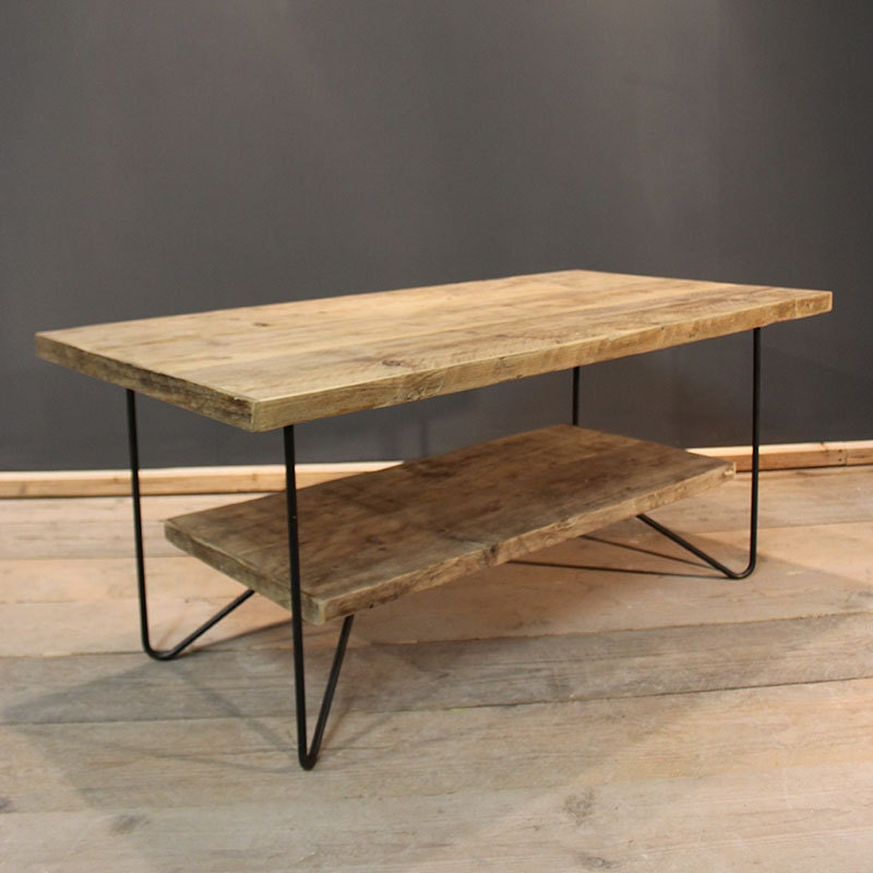 Coffee Table Reception Table With Floating Shelf Handmade