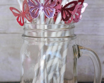 Paper Straws - Pink Butterfly Paper Straws - Custom Straws - Pink Foiled Straws - Baby Shower Straws - Butterflies