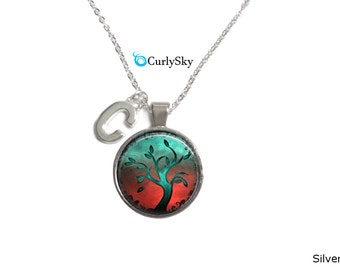 Fire Teal Tree of Life Necklace Blue teal tree necklace pendant Blue tree of life jewelry Teal and ted tree necklace Tree of life jewelry