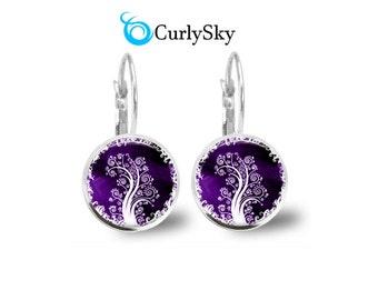 Purple tree earrings Purple tree dangle earrings Purple gift earrings Spring purple tree earrings Spring tree dangle jewelry Tree earrings