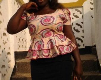 African Wax Print Women's Flared Top