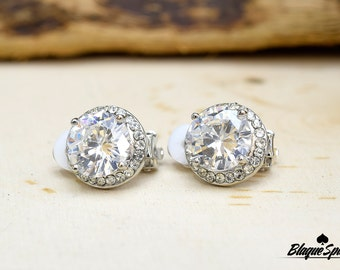Silver Cubic Zirconia Stud Clip On Earrings
