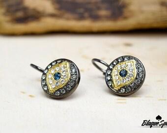 Hematite Evil Eye French Clip Earrings