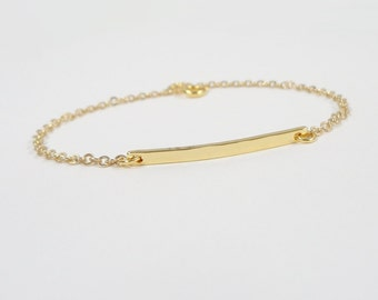 Hammered Bar Bracelet - Skinny bar bracelet - Select Gold or Silver  - dainty bracelet