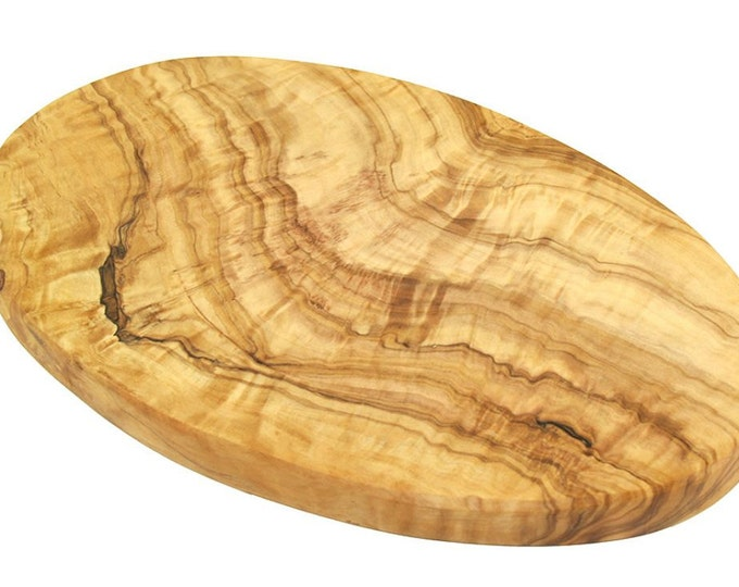 Cutting board oval made of olive wood 25 x 15 cm solid unique hand work