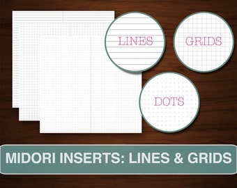 BASIC PAGES for Midori Inserts, Printable Download DIY Travel Notebook Journal, Minimalist Simple Organizer, Dotted Lined, Grids Dots Lines