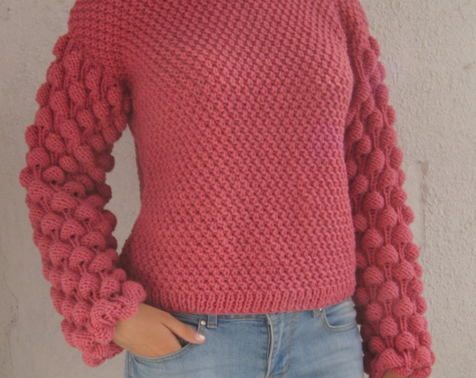 Knit Oversize Free Size Cardigan Sweater Sweatshirt Pullover Pink Dust Rose Handmade, Choose your own color, Custom color