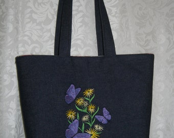 Denim Tote Bag ~ flowers and butterflies