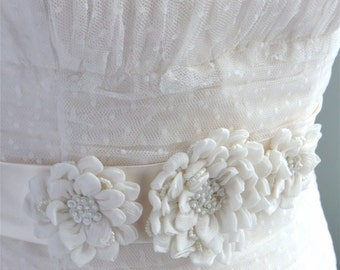 bridal sash with chiffon flowers