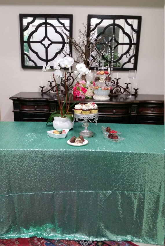 Mint Green Glitz Sequin Table Cloth Mini Glitz Sequin