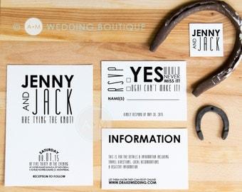 Wedding Invitation set, Black & White Wedding Invitation, Printable Invitations, Modern invitation set : JENNY