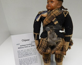 Antique WWI Scottish Military or Highland Doll