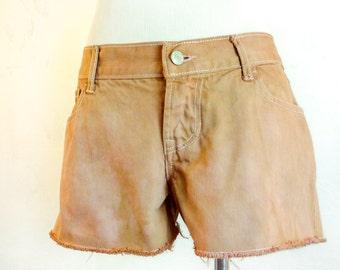 Hand Dyed Denim Shorts - Eco Dyed Shorts - Eco Friendly Shorts - Upcycled Shorts - Eco Fashion - Size S - Altered Shorts