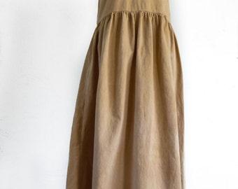 Sleeveless Sun Dress - Naturally Hand Dyed - Eco Dyed - Earthy, Hippie, Boho Style - Size M - Orange Tan Color - Eco Friendly Dress