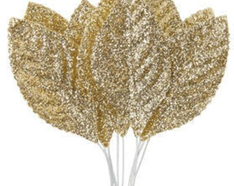 10 Gold Glitter Leaves For Corsage Boutonniere Millinery Floral Design Florist Supplies DIY Brides Weddings Leaf