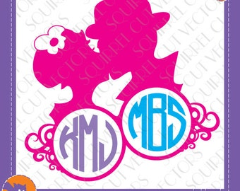 Kiss Couple dual Monogram Frame SVG DXF EPS Cutting File