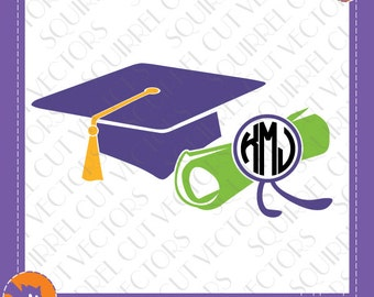 Graduation Cap and Scroll Monogram Frame SVG DXF EPS Cutting files