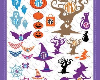 Halloween/ Trick or Treat Monogram Frames & art (spider, tree, pumpkin, jack o lantern, cat, bat, ghost, witch) SVG DXF EPS Cutting files