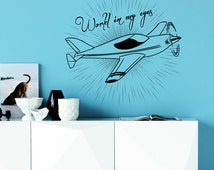 Wall Decals Quote World In My Eyes Design Wall Decal Plane Prop Airplane Travel Aircraft Vinyl Stickers Bedroom Living Room Home Decor 3917