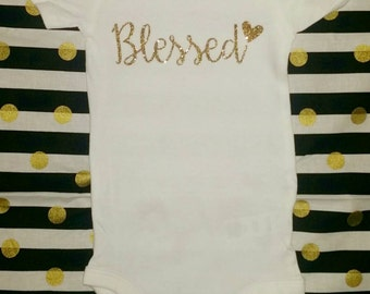 Blessed baby girl onesie bodysuit with heart in white with gold glitter hospital outfit newborn, baby sizes