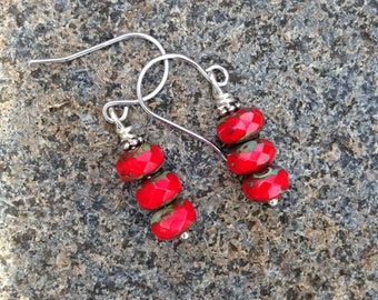 Red Glass and Silver Earrings