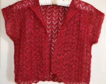 Lacey, glittery, red cropped jacket