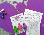LEGO Friends Shaped Crayons - 12 packs of 3 Minifigures with Personalized Thank You Cards & Coloring Cards - Personalized Kids Party Favors
