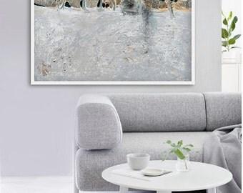 "Modern GICLEE PRINT, Fine Art print, light grey, dark blue color print of ORIGINAL painting ""Never-ending journey"""