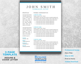 actor resume template word professional resume template for word resume cover letter template - One Page Resume Template Word