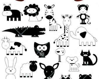 Black White Cartoon Hand Drawn Animals Digital Clip Art Embellishments Scrapbook Png Printable Clipart Instant Download Commercial Use