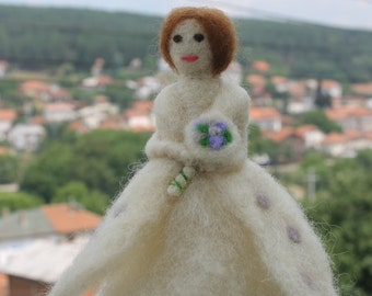 Needle Felted Doll,Bride Doll with bouquet - Custom Made Wool Needle felted Figurine