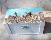 Ring Bearer Pillow Box Beach Side Wedding Seashell Jewelry Box Seaside Starfish Alternative Ceremony Box Beach Cottage Chic Turquoise Aqua
