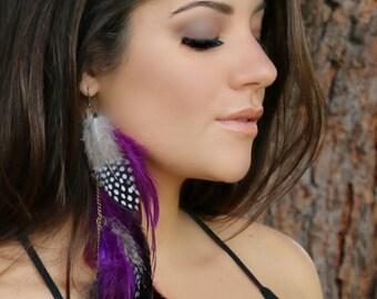 Gorgeous Purple black and white polka dot Feather Earrings,  polka dot long earrings, purple  earrings, purple  feather long earrings,