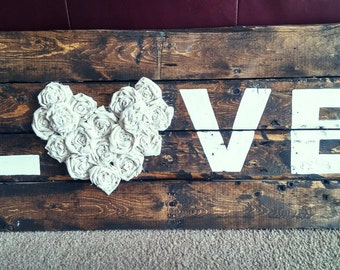"Rustic ""Love"" Reclaimed Wood Sign"