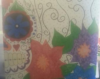 ON SALE!! Original Painting, Sugar skull Dia de los Muertos Acrylic on a 16x20 canvas board.