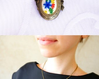 Floral locket necklace Polymer clay embroidery jewelry Oval Locket charm necklace Floral necklace Photo locket Clay locket Floral jewelry