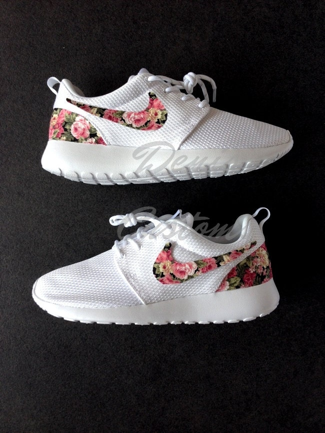 nike roshe run one white custom pink rose floral by. Black Bedroom Furniture Sets. Home Design Ideas