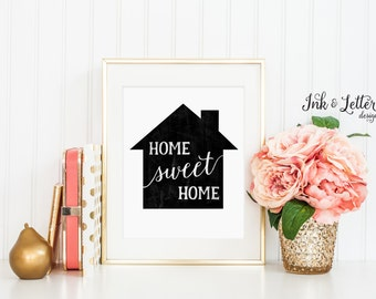 Home Sweet Home - Home Sweet Home Print - Chalkboard Print - Wall Decor - Home Decor - Instant Download Printable - Housewarming Gift