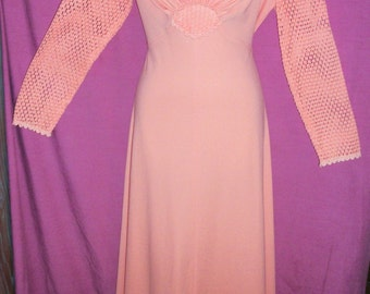 1970s Dress Peach Gown Long Peach Dress with Lace Empire Waist Vintage 70s Evening Gown Peach Mother of Bride Dress Formal Dress